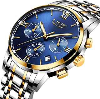 Men's Luxury Business Quartz Watch, LIGE Fashion Analog Chronograph Wrist Watch with Brown Leather Band ¡