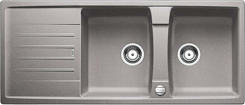 Weiß Lexa 8 S, Küchenspüle, Granitspüle aus Silgranit PuraDur, 1 Stück, alumetallic, 514701