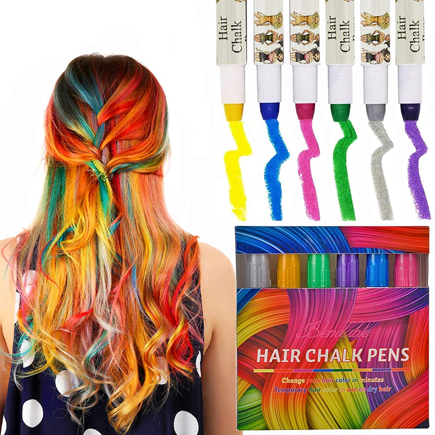 Kyerivs Hair Chalk Hair Pens 6 Color Metallic Glitter Temporary Hair Color, No Mess, Built in Sealant, Birthday Party Dress up Christmas Gift for Girls Works on All Hair Colors