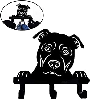 American Pit Bull Terrier Rescue Dog Shape Peek a Boo Metal Coated Bathroom Clothes Towel Wall Mounted Hook Kitchen Mudroom Bedroom (Portrait)