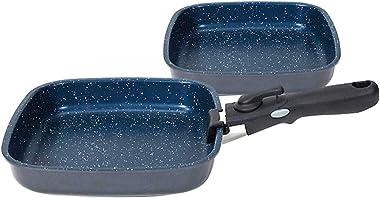 FlavorStone Diamond Edition Non-Stick Saute Pan Cookware Set with Detachable Handle, Blue, 22/24 cm