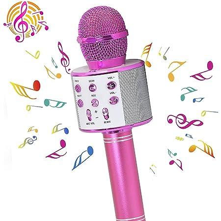 PANFREY Micrófono Karaoke Bluetooth,micrófono inalámbrico ,Micrófono Karaoke Portátil para KTV,Portátil Inalámbrica Micrófono,Altavoz del Karaoke para Niños Canta Partido Musica,Micrófono Inalámbrico Bluetooth,Bluetooth Altavoz,Micrófono Wireless Bluetooth Compatible con Android/iOS PC,Tabletas,el Hogar KTV(Rose Rojo)
