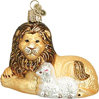 Old World Christmas Ornaments: Lion and Lamb Glass Blown Ornaments for Christmas Tree