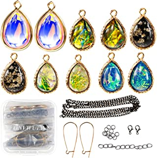 ONVWULR Inspirational Charms Bulk for Jewelry Making,Artificial Blue Fire Opal Necklace Charms and Pendants,Crystal Teardrop Pendants DIY for Bracelets Earrings and Crafting