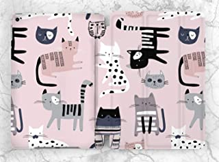 Pastel Pink Cat Pattern Case For Apple iPad Mini 1 2 3 4 5 iPad Air 2 3 iPad Pro 9.7 10.5 11 12.9 inch iPad 9.7 inch 2017 2018 2019