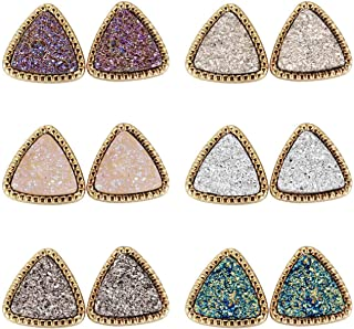 Lullabb 6 Pairs Women Crystal Druse Stud Earrings Hypoallergenic Geometry Shiny Druzy Ear-ring Men boys Fashion Jewelry fo...