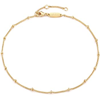 Mevecco Gold Star Charm Anklet,14K Gold Plated Boho Beach Dainty Cute Tiny Lucky Star Foot Chain Ankle Bracelet Silver Beaded Chain Anklet for Women