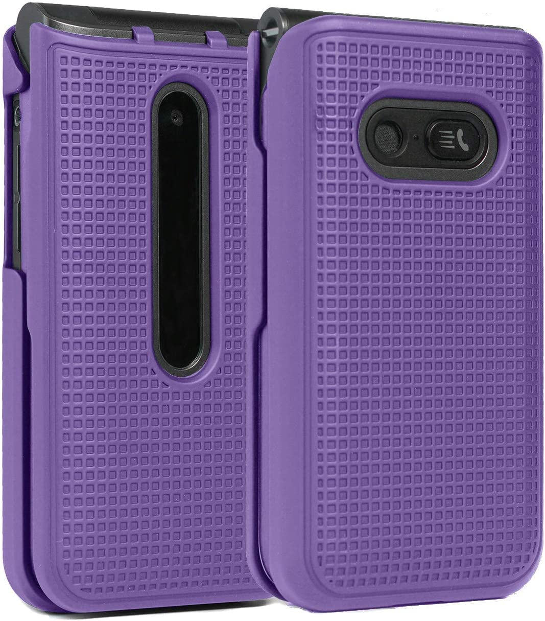 Case for LG Wine 2 LTE, Nakedcellphone [Purple] Protective Snap-On Hard Shell Cover [Grid Texture] for The LG Wine 2 LTE Flip Phone (LM-Y120) from US Cellular