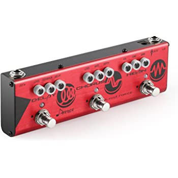 Donner Multi Guitar Effect Pedal Alpha Force 3 in 1 Effects Delay Chorus High Gain Distortion Pedal with Adapter