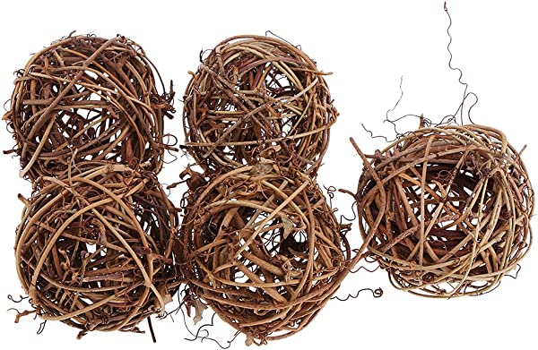 Dailymall 5X Rustic Wicker Rattan Ball For Home Wedding Christmas Party Ornaments 6cm