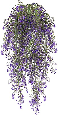 Nahuaa 2PCS 31.5 inches Fake Hanging Vine Outdoor Artificial Hanging Plants Rattan Fences Luxuriant Wall Hang Garland Porch Patio Arch Balcony Basket Garden Party Wedding Decor Purple
