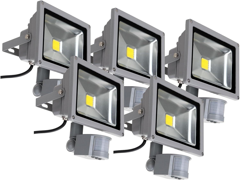 5x Showlite FL-2020B LED Outdoor Fluter (Flutlicht mit Bewegungsmelder, 20W, 2200 Lumen, IP65, 4500K, tageslicht-wei)