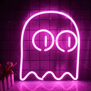 Ghost Neon Signs for Wall Pink Led Neon Lights for Bedroom Decorative Elves Ghost Wall Light Signs for Halloween Festival ...