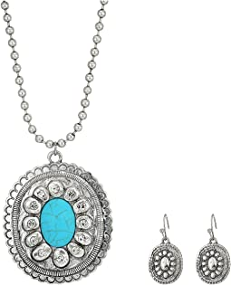 Large Oval Concho w/ Turquoise Stone Necklace/Earrings Set