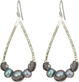 Chan Luu - Sterling Silver Teardrop Freshwater Pearl Earrings with Velvet Piping