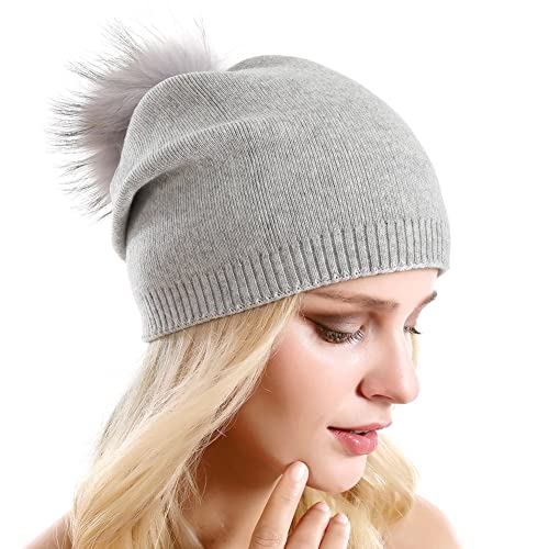 bbbd851c456 Women Knit Wool Beanie - Winter Solid Cashmere Ski Hats Real Raccoon Fur  Pom Pom