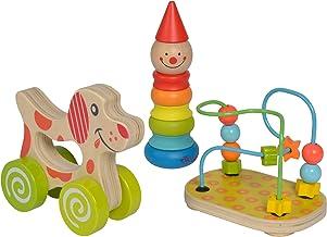 Eichhorn 100003750 Lernspielset bestehend aus Steckfigur Clown, Motorikschleife und Schiebehund, 3 teilig, Motorikspielzeug, Holzspielzeug