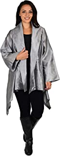 Dare2BStylish Women Plus Size Loose Fitting Poly Silk Designer Cover Up Duster Jacket