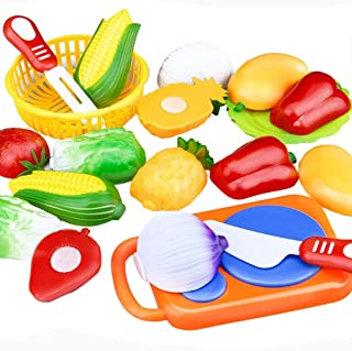 Pandaie Toy,12PC Cutting Fruit Vegetable Pretend Play Children Kid Educational ToyFun Toys for 1 2 3 4 5 6 7 8 9 10 year old