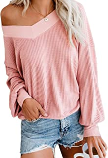 PINKMSTYLE Womens's V Neck Long Sleeve Waffle Knit Pullover Tops Loose Oversized Off Shoulder Sweater