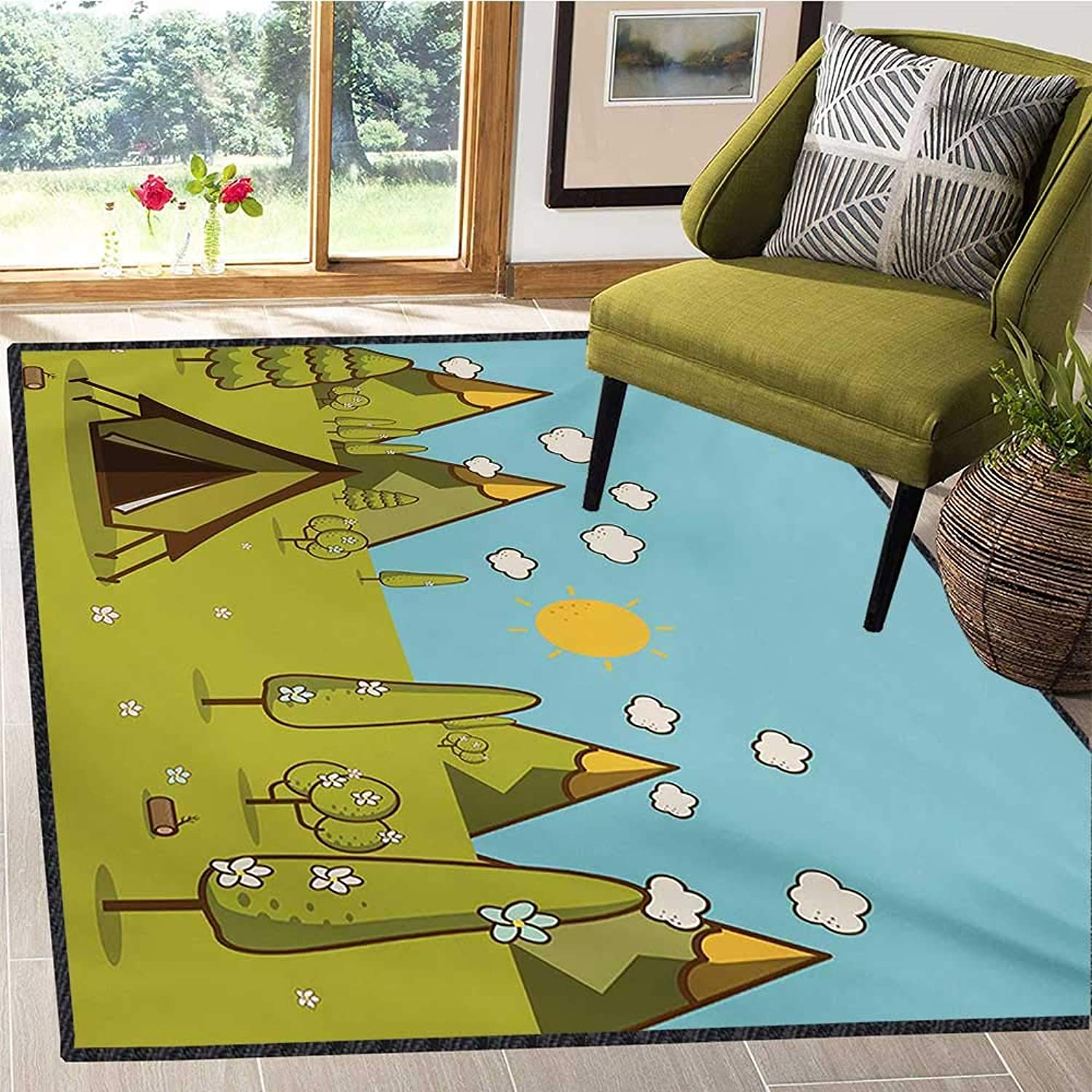 Camping, Door Mats for Inside, Solitary Weekend Theme Summer Morning Landscape in The Mountains Cartoon Image, Door Mat Indoors 5x6 Ft Multicolor