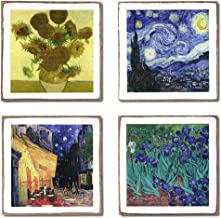 4 Vincent Van Gogh Coasters Set & Holder | Wood Coasters with Holder | Van Gogh Gifts | Art Decor by Zumatico
