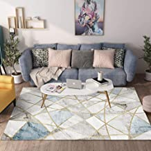 Rug Carpet Mat Modern Style Rugs Blue gray marble geometry 8MM Home Accessories in Soft Touch Living bedroom Room Rug (Size : 200x300CM)