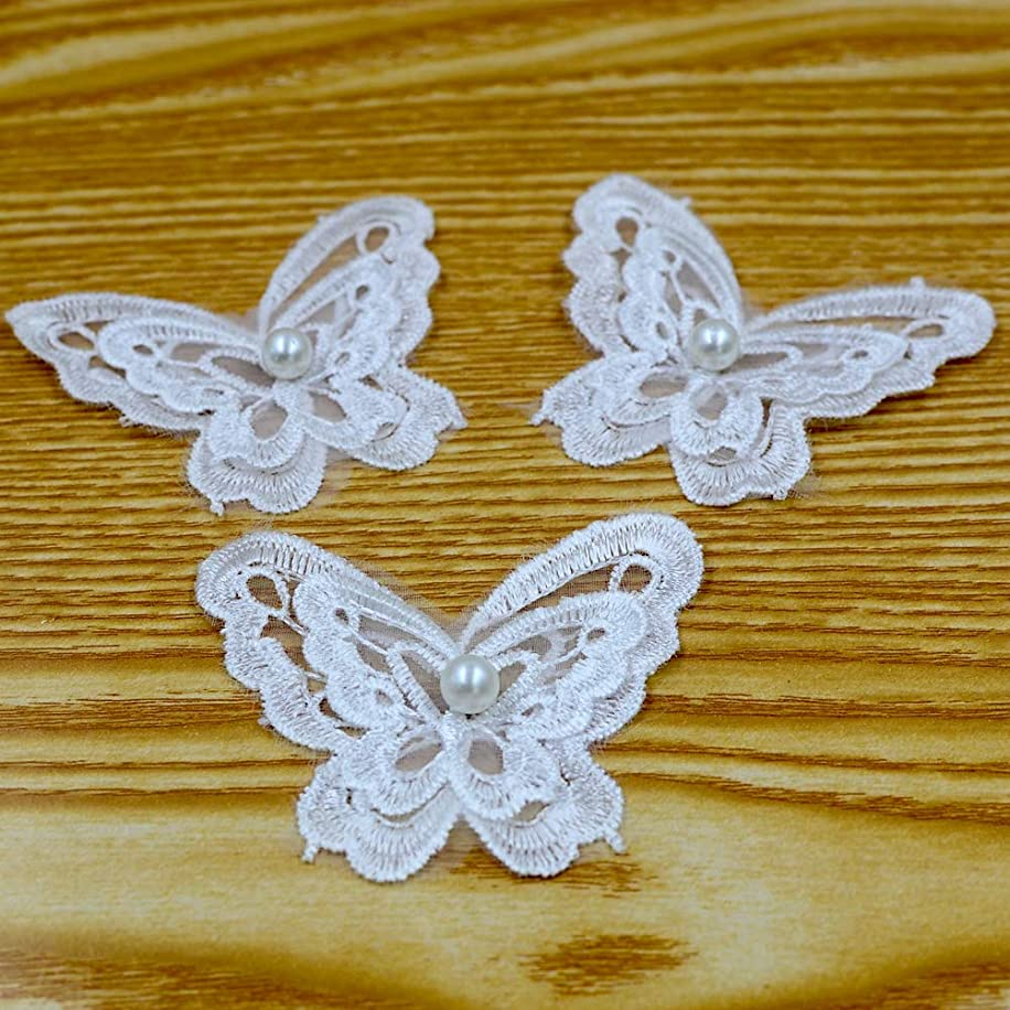 DGOL 10pcs Embossed Lace Butterfly Home Craft Use Trim Applique Size (0.28