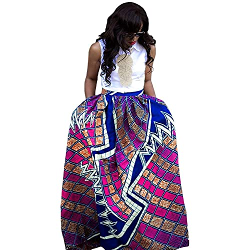 129cdd3b49c Womens African Floral Maxi Dress High Waist A Line Long Skirts with Pockets