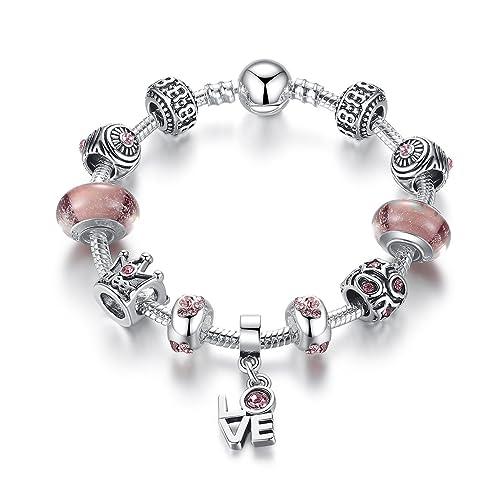 """Reine Rose Bracelet Breloques Pour Fille-Argent Plaqué Et De Zirconium-Bijoux Soldes,IdéE Cadeau 18cm(7.08"""")"""