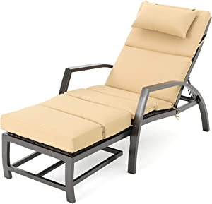 Christopher Knight Home 301127 Newmans Outdoor Aluminum Lounge with Water Resistant Cushion | Tan