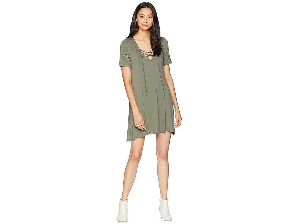 BCBGeneration Lace-Up Dress (Dusty Olive) Women