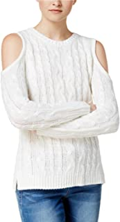 Hippie Rose Juniors' Cold-Shoulder Cable-Knit Sweater