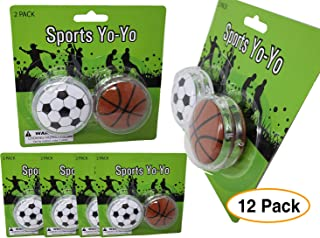 Sports Party Favor Yoyos (12 Pack) Soccer and Basketball / Birthday
