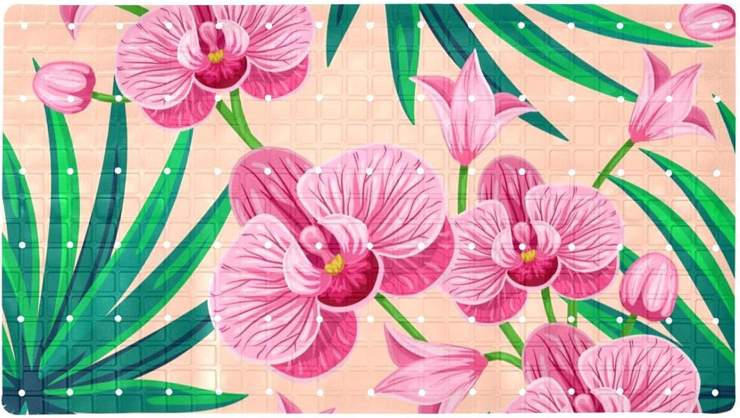 Bath Tub Shower Mat 15.7x27.9 inches Flow and Palm Luxury goods Orchid Leaves security
