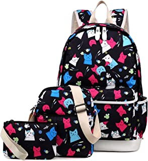 Cat School Backpack for Girls Set 3 in 1 Cute Kitty Printed Bookbag 14inch Laptop School Bag for Girls Water Resistant Colorful Thanksgiving Day Christmas Gifts