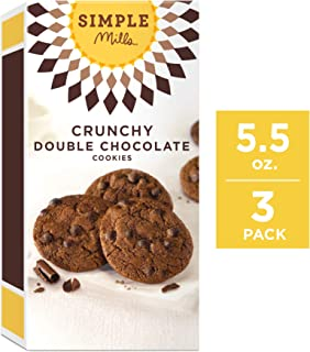 Simple Mills Crunchy Cookies, Double Chocolate, 5.5 Ounce, 3 Count