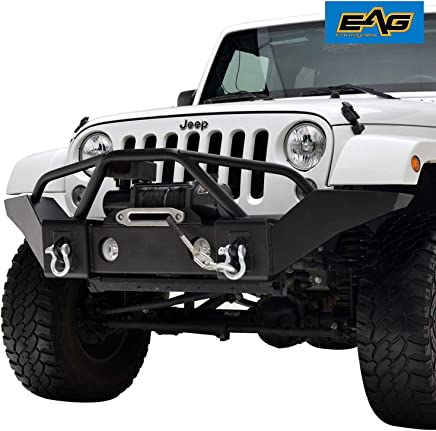 EAG Front Bumper Full Width with Winch Plate and Fog Light Housing for 07-18