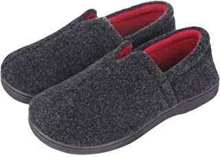 Women's Comfort Micro Wool Felt Memory Foam Loafer Slippers Anti-Skid House Shoes for Indoor Outdoor Use