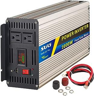 Sug 2000W(Peak 4000W) Power Inverter Pure Sine Wave DC 12V to AC 110V 120V Converter Back up Power Supply for RV, Home, Car Use