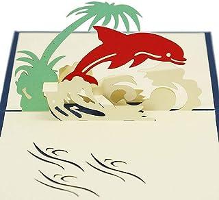 Biglietto d'auguri pop-up 3D fatto a mano delfino mammifero palma albero seawave ocean anniversario di matrimonio festa Sa...