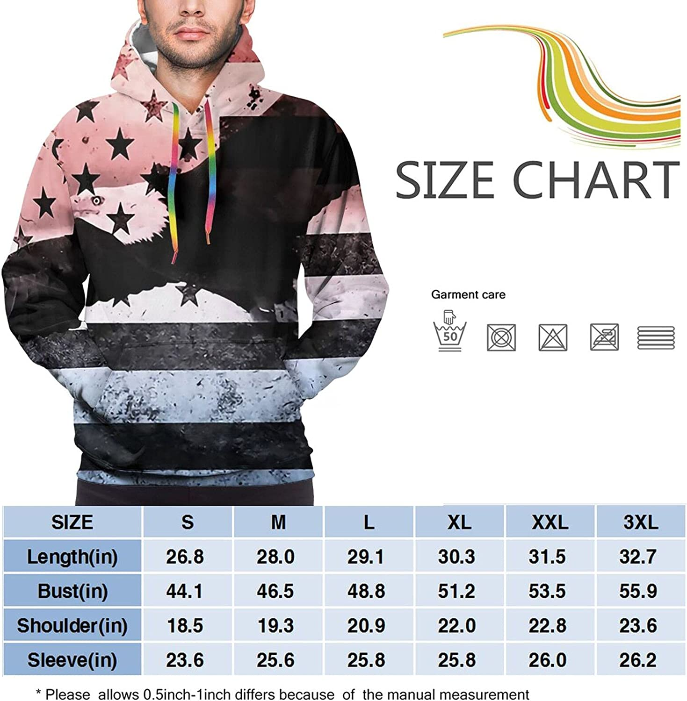 Hoodie For Men Women Unisex Bald Eagle American Flag Pullover Hooded Sports Sweatshirt