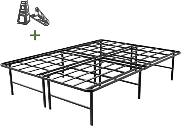 45MinST 16 Inch Platform Bed Frame 2 Brackets Included Mattress Foundation 3000LBS Heavy Duty Extremely Easy Assembly Box Spring Replacement Quiet Noise Free Twin XL Full Queen King Cal King Queen