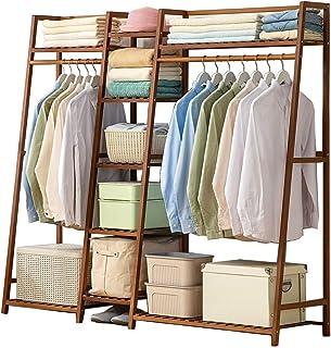 LOHOX Bambou Portant Penderie à Vêtements en Porte Manteau Armoire Crochets Etagères de Rangement en avec étagère pour Cha...