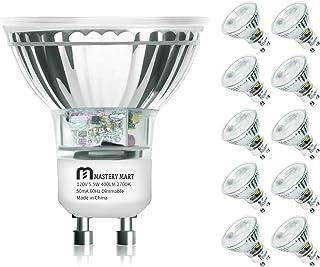 LED GU10 Spotlight Light Bulbs, 50 Watt Equivalent, 5.5W Dimmable, MR16 Full Glass Cover, 2700K Soft White, 25000 Hours, U...
