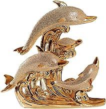 XINHU Decoratieve Paar Wijn kabinet Decoratie New Home Decoration Ceramic Vergulde Dolphin Bay Love, Afmetingen: 21 x 21cm