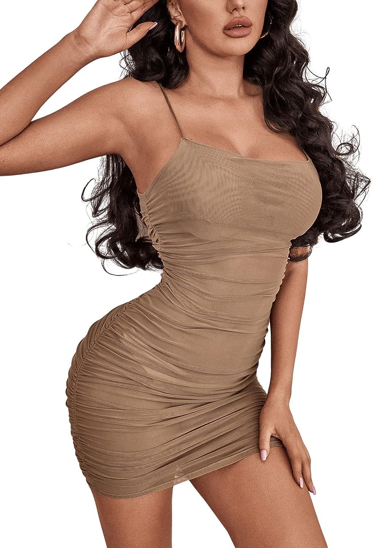 Verdusa Women's Ruched Semi Mesh Spaghetti Strap Mini Bodycon Cami Dress