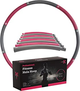 JX GEAR Pro Fitness Hula Hoop - Premium Weight Loss Hula Hoops for Exercise, Dancing, Fitness, Yoga and Workout - Unparalleled Weighted Gym Hula-Hoop for Adults, Kids,and Beginner - 2lb 35.4in Pink