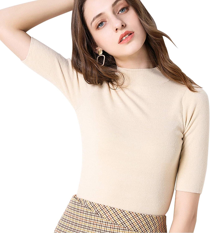 Anbenser Women's Short Sleeve Mock Pullover Sweater Knit Jersey Top Slim Fit
