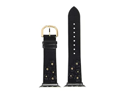 Kate Spade New York 38/40 mm Floral Leather Apple Watch(r) Band KSS0045 (Black) Watches